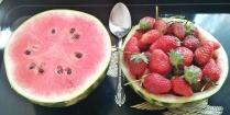 Mini-pastèque et fraises