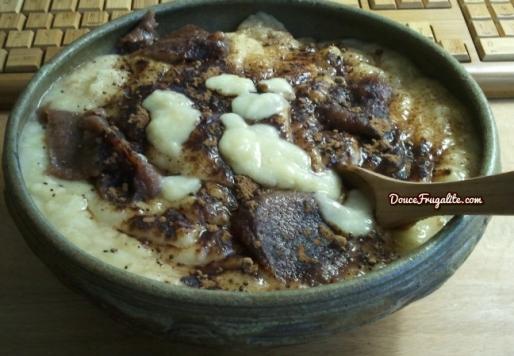 Purée de bananes, poudre de caroube et crème de châtaignes