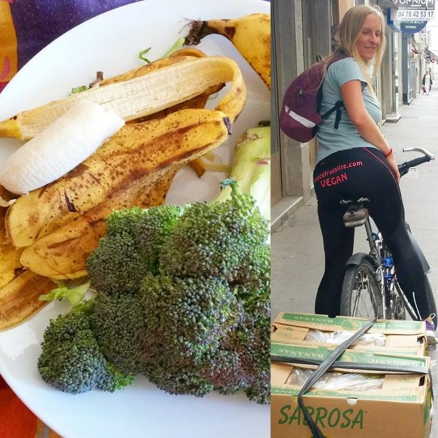 caisse de bananes bio remorquées à vélo & brocoli