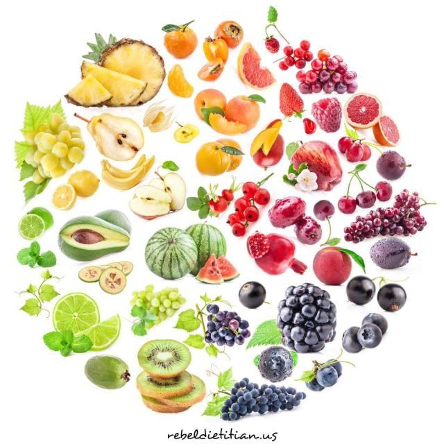 4 Mandala fruits et légumes colorés